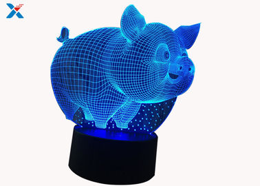 Customized Acrylic Light Guide Panel 7 Colors Change Cartoon 3D Pig Shape LED Night Light